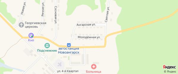 Молодежная улица на карте поселка Новоангарска Красноярского края с номерами домов
