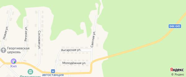 Светлая улица на карте поселка Новоангарска Красноярского края с номерами домов