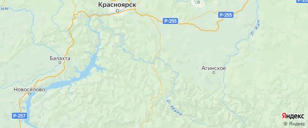 Карта Манского района Красноярского края с городами и населенными пунктами
