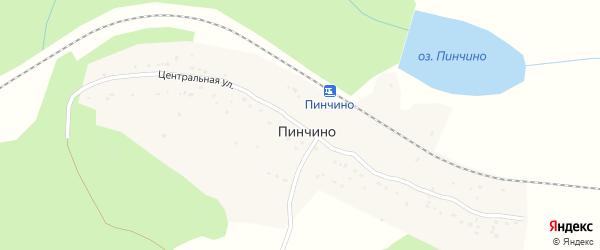 Центральная улица на карте поселка Пинчино Красноярского края с номерами домов