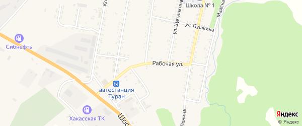 Рабочая улица на карте Турана с номерами домов