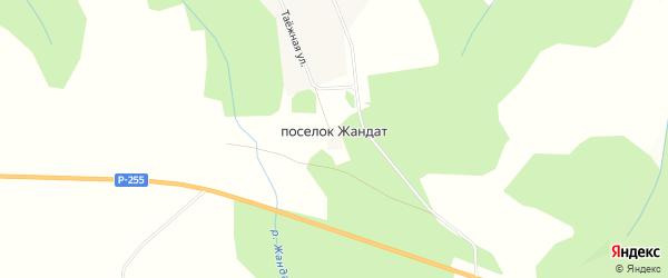 Карта поселка Жандат в Красноярском крае с улицами и номерами домов