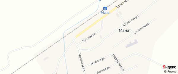 Луговая улица на карте поселка Мана Красноярского края с номерами домов