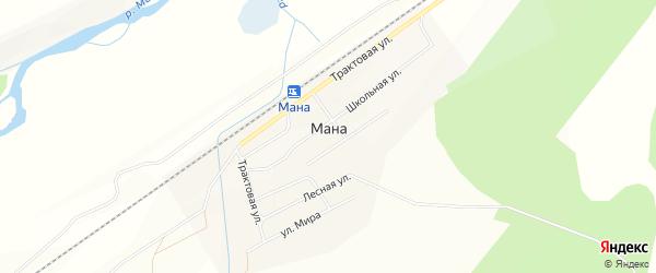 Карта поселка Мана в Красноярском крае с улицами и номерами домов