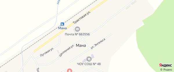 Школьная улица на карте поселка Мана Красноярского края с номерами домов