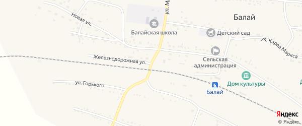 Железнодорожная улица на карте поселка Балая Красноярского края с номерами домов