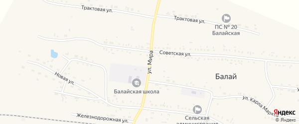 Улица Мира на карте поселка Балая Красноярского края с номерами домов