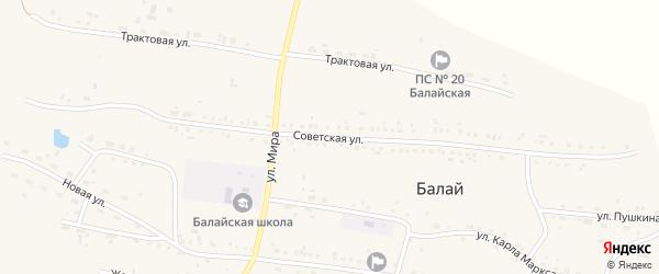 Советская улица на карте поселка Балая Красноярского края с номерами домов