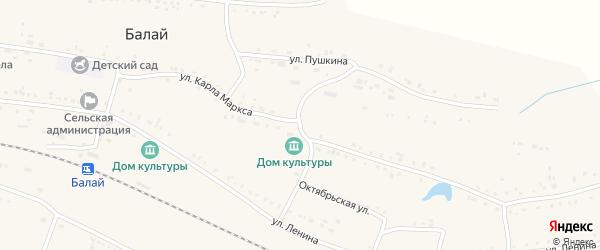 Улица Карла Маркса на карте поселка Балая Красноярского края с номерами домов