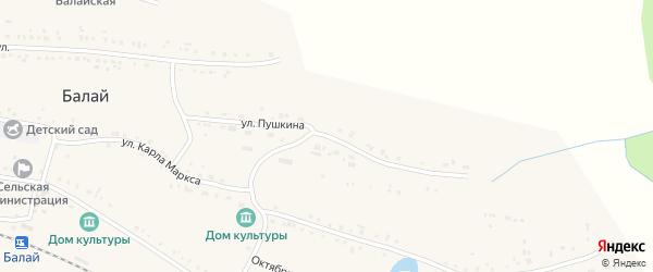 Улица Пушкина на карте поселка Балая Красноярского края с номерами домов