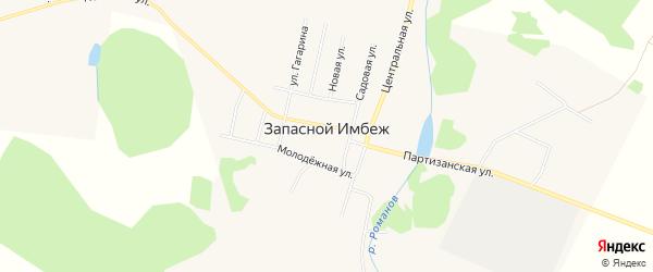 Карта поселка Запасного Имбеж в Красноярском крае с улицами и номерами домов