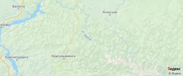 Карта Партизанского района Красноярского края с городами и населенными пунктами