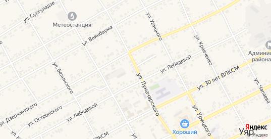 Улица Луначарского в Уяре с номерами домов на карте. Спутник и схема онлайн