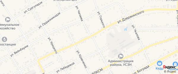 Улица Дзержинского на карте Уяра с номерами домов