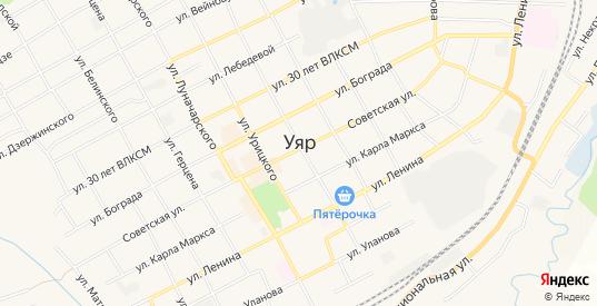 Карта садового некоммерческого товарищества Строитель в Уяре с улицами, домами и почтовыми отделениями со спутника онлайн