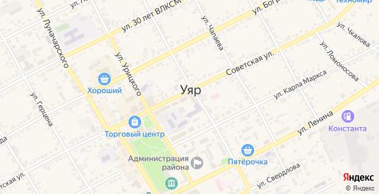 Дорожная улица в Уяре с номерами домов на карте. Спутник и схема онлайн