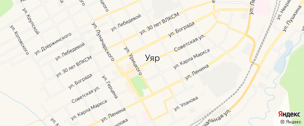 Карта садового некоммерческого товарищества Строителя города Уяра в Красноярском крае с улицами и номерами домов