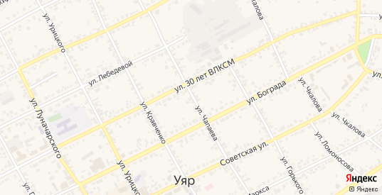 Улица Чапаева в Уяре с номерами домов на карте. Спутник и схема онлайн
