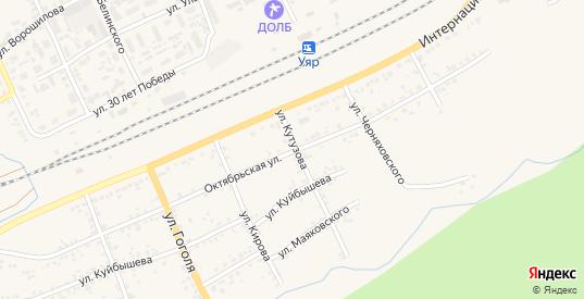 Октябрьская улица в Уяре с номерами домов на карте. Спутник и схема онлайн
