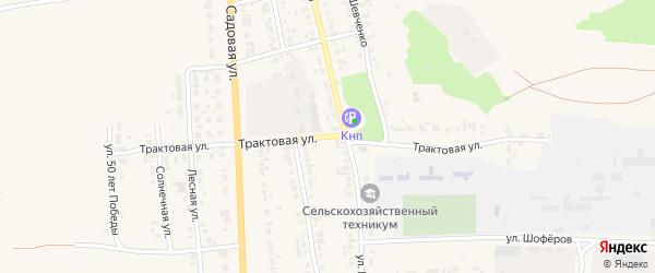 Трактовая улица на карте Уяра с номерами домов