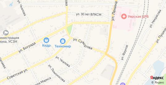 Улица Суворова в Уяре с номерами домов на карте. Спутник и схема онлайн