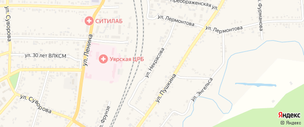 Улица Некрасова на карте Уяра с номерами домов