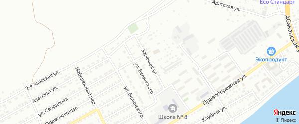 Заречная улица на карте Кызыла с номерами домов