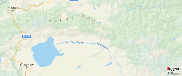 Карта Тес-хемского района Республики Тывы с городами и населенными пунктами