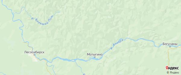 Карта Мотыгинского района Красноярского края с городами и населенными пунктами