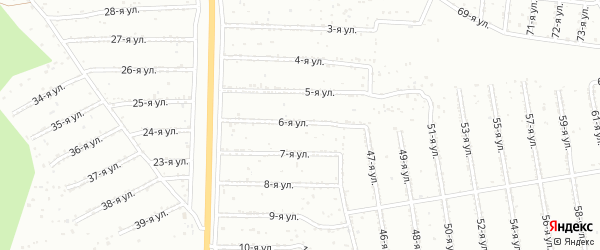 6-я улица на карте садового некоммерческого товарищества Садоводства N6 с номерами домов