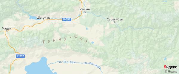 Карта Тандинского района Республики Тывы с городами и населенными пунктами