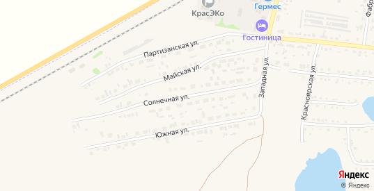 Солнечная улица в Заозерном с номерами домов на карте. Спутник и схема онлайн