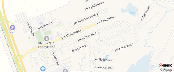 Улица Котовского на карте Заозерного с номерами домов