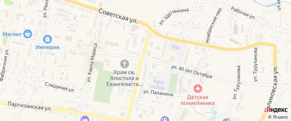 Улица 40 лет Октября на карте Заозерного с номерами домов