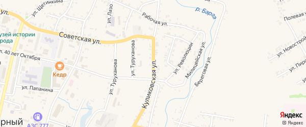 Куликовская улица на карте Заозерного с номерами домов