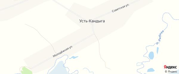 Карта деревни Усть-Кандыги в Красноярском крае с улицами и номерами домов