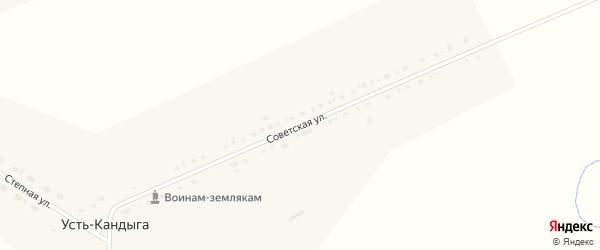 Советская улица на карте деревни Усть-Кандыги Красноярского края с номерами домов