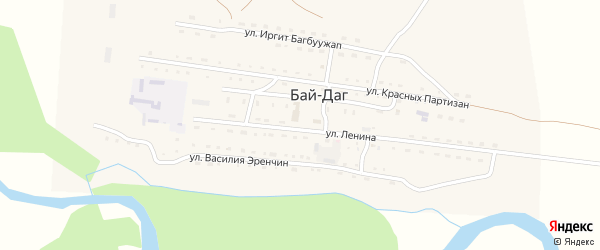 Местечко Дедир-Боом на карте села Бая-Дага Тывы с номерами домов