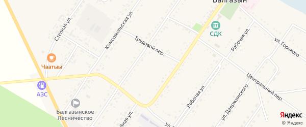 Переулок Механизаторов на карте села Балгазына Тывы с номерами домов