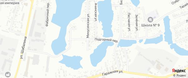Подгорный переулок на карте Канска с номерами домов