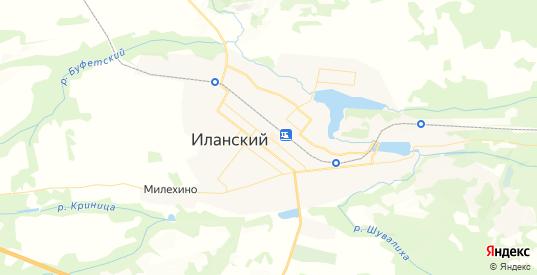 Карта Иланского с улицами и домами подробная. Показать со спутника номера домов онлайн