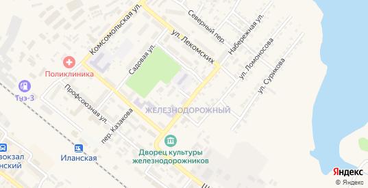 Октябрьский переулок в Иланском с номерами домов на карте. Спутник и схема онлайн