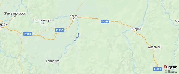 Карта Иланского района Красноярского края с городами и населенными пунктами