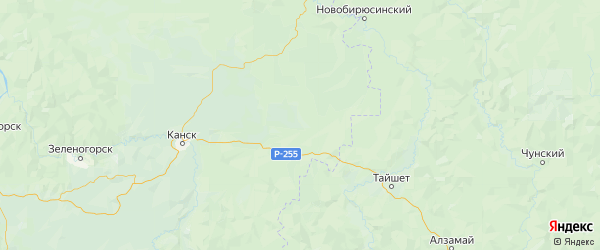 Карта Нижнеингашского района Красноярского края с городами и населенными пунктами