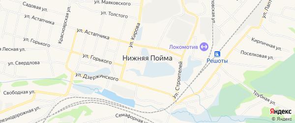 Карта поселка Нижней Поймы в Красноярском крае с улицами и номерами домов