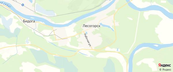 Карта поселка Лесогорска Иркутской области с районами, улицами и номерами домов