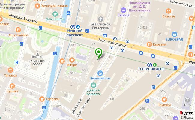 Сбербанк Санкт-петербург ул. Думская 1-3, лит. А карта