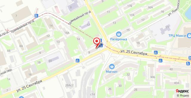Апартаменты На улице 25 Cентября на карте