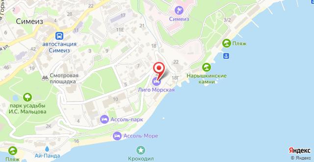 Гостиница Лиго Морская на карте