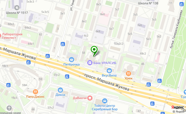 Сбербанк Москва проспект Маршала Жукова 58, корп.1 карта